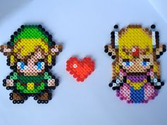Link and Zelda Love - Legend of Zelda Perler Bead Sprite Magnets. 8.00, via Etsy.