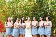 love the fun prints of the bridemaids' dresses! :D
