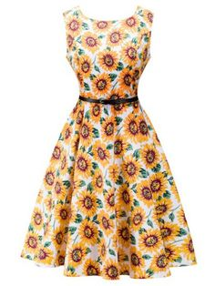 GET $50 NOW | Join RoseGal: Get YOUR $50 NOW!http://www.rosegal.com/vintage-dresses/retro-high-waisted-sunflower-dress-707180.html?seid=6176169rg707180
