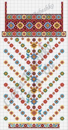 This Pin was discovered by Neş Folk Embroidery, Learn Embroidery, Cross Stitch Embroidery, Embroidery Patterns, Machine Embroidery, Cross Stitch Borders, Cross Stitch Patterns, Palestinian Embroidery, Antique Quilts