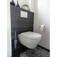 Afbeeldingsresultaat voor powder room with wall hung toilet Small Toilet Room, Guest Toilet, Wall Hung Toilet, Downstairs Toilet, Bad Inspiration, Bathroom Inspiration, Bathroom Toilets, Bathroom Fixtures, Modern Bathroom
