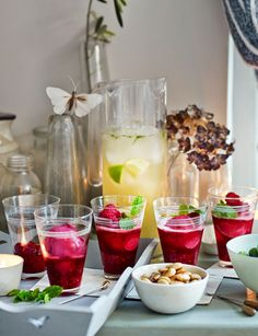 Rum, raspberry, pink grapefruit and lime slushies