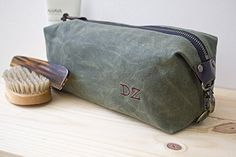 Handmade Waxed Canvas Dopp Kit, Toiletry Bag, Travel bag with Inside Pocket - Water Resistant Lining - Olive Green, Available in 8 Colors. Monogramming Available. I use top quality 100% cotton Waxed Canvas - Made in the USA - with water resistant lining. Top quality hardware like antique brass zippers and metal rivets. This is my original design and is handmade by me.