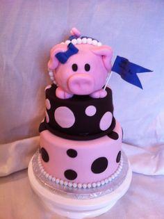 Piggy Cake Fondant and gumpaste piggy cake Fondant Cakes, Cupcake Cakes, Cupcakes, Kid Cakes, Amazing Cakes, Beautiful Cakes, Piggy Cake, Pig Cookies, Pig Birthday Cakes