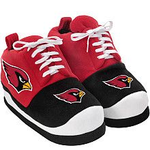 Okay after a long day of being active you need to slip into something more comfortable.  Arizona Cardinals oversized shoe slippers.  And you thought our mascot had big feet.    www.nflshop.com