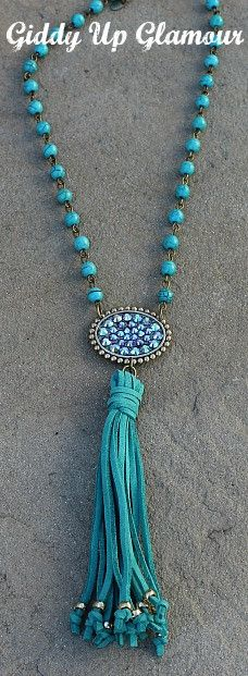 Pink Panache Short Turquoise Necklace with Bronze Oval with ST Crystals and Tassel