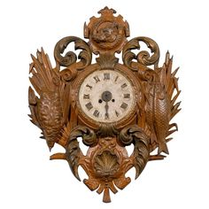 century painted French iron Cartel clock in the Black Forest style with fishing and hunting depictions. A quartz movement has been added. Clocks Inspiration, Luxury Furniture Stores, Furniture Near Me, Black Forest, Decorative Objects, Decoration, 19th Century, Old Things, Iron