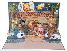 Christmas nativity scene pop-up card http://www.mylittlehouse.org/christmas-pop-up-card.html
