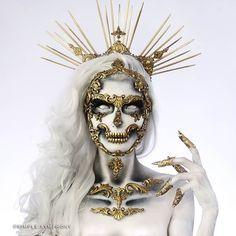 Chic Halloween, Halloween Makeup Looks, Fx Makeup, Skull Makeup, Scary Makeup, Creative Makeup Looks, Creative Costumes, Special Effects Makeup, Fantasy Costumes