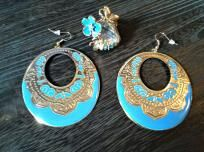Beautiful Earring and Ring Jewelry Set in Blue & Gold Perfect for Summer Wear