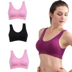 1e697e0ae Hot Sell Women Soft Sports Bra Yoga Fitness Stretch Workout Tank Top  Seamless Padded Bra Higt Quality-in Sports Bras from Sports   Entertainment  on ...
