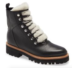 STYLECASTER | Marc Fisher Izzie Winter Boot | Marc Fisher boot | Marc Fisher winter boot | Marc Fisher Isalia boot | cute hiking boots | cute lace-up boots | cute winter boots Black Leather Boots, Black Ankle Boots, Lace Up Boots, Calf Leather, Women's Boots, Marc Fisher Boots, Warm Winter Boots, Shearling Boots, Black Laces