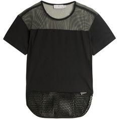 STELLA McCARTNEY FOR ADIDAS Mesh T-shirt ($78) ❤ liked on Polyvore featuring tops, t-shirts, shirts, mini shirt, black shirt, over the shoulder shirts, t shirts and mesh shirt