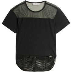 STELLA McCARTNEY FOR ADIDAS Mesh T-shirt ($78) ❤ liked on Polyvore featuring tops, t-shirts, shirts, tees, adidas shirt, mesh shirt, black mesh shirt, black t shirt and adidas tee
