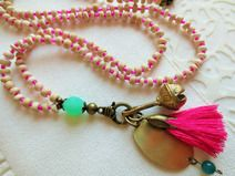 Bettelkette, indisches Glöckchen, Quaste pink, mala