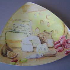 """Assiettes triangulaires """"plateau de fromages"""" Food Drawing, Foie Gras, China Painting, Cheese Recipes, Decoration, Drawings, Photos, Wine Pairings, Painted Porcelain"""
