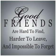 good friends sayings | Good friends are hard to find, harder to leave, and impossible to ...