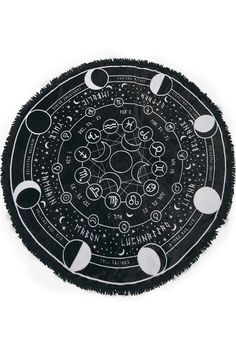 Pagan Round Blanket Soft Touch Fabric Round Blanket, with Fringes Huge Graphic Print Size x The 'Pagan' round blanket is in a lush soft fabric - with a huge contrast graphic of the pagan calendar, accent starts and moon phases. Pagan Calendar, Goth Home, Farmhouse Side Table, Witch Aesthetic, Gothic House, Gothic Room, Book Of Shadows, My New Room, Astrology