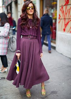 all in violet - loose circle midi skirt and long-sleeved top, yellow accesories (Eleonora Carisi)