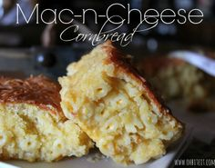 Cornbread Mac n Cheese! Ingredients: cornbread mix, prepared mac-n-cheese, shredded sharp cheddar cheese