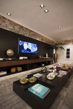 COMO DECORAR E INTEGRAR A SALA DE ESTAR E HOME THEATER - Papo de Design                                                                                                                                                     Mais