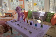 "My Little Pony party game: Twilight Sparkle's Magic Potion center. They created magic ""wish potions"" using colored sugar crystals. Fun!"