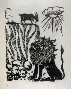 Antonio Frasconi - The Lion and the Goat,  illustration for the third fable in the book, Known Fables (New York: Spiral Press, 1964)