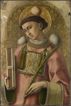 Saint Stephen, 1476, Carlo Crivelli; the saint is depicted with his attributes: rocks, a deacon's robe, a palm and a book. (National Gallery)