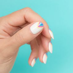 If you like fresh and light nail designs, try these Edgy Rainbow nails. Painting perfect triangles on each nail is a great exercise to improve your nail art Pink Acrylic Nails, Neon Nails, Matte Nails, Light Nails, Unicorn Nails, Rainbow Nails, Gel Nail Designs, Fabulous Nails, Trendy Nails