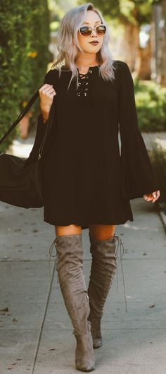 Black Bell Sleeve Dress + Suede Thigh High Boots Source