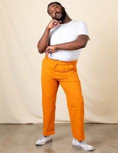 Work Pants - Creamsicle Orange – BIG BUD PRESS Closet Staples, Work Pants, Bud, Work Wear, Elastic Waist, Style Inspiration, Legs, Orange, How To Wear
