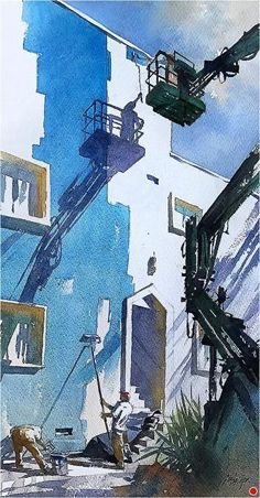 Almost Blue by Thomas W. Schaller Watercolor ~ 20 x 12 inches Watercolor Landscape Paintings, Watercolor Artists, Watercolor And Ink, Landscape Art, Urban Painting, Painting Art, Art Thomas, Watercolor Architecture, Urban Sketching