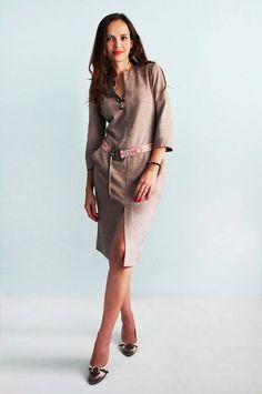 Beige  suede dress Jersey dress  Long sleeves Autumn dress Boho style