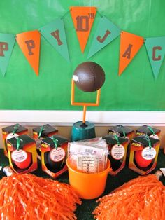 for trevon @Heidi Migues  party favors, nerf footballs from the dollar store :)