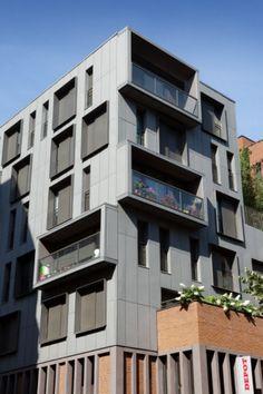 Social and emergency housing complex, Paris (France) by Atelier d'Architecture Brenac & Gonzales #Architecture #Zinc #Facade #QuartzZinc #CollectiveHousing #France #Paris #VMZINC