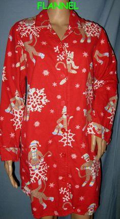 0852af30d0 S xmas red NICK NORA monkey FLANNEL COTTON pajama nightgown sleep shirt  night  NickNora