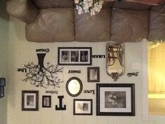 Family photo wall. Picture hanging idea.