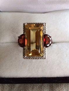 Black Tie Diamonds Hugh Emerald Cut Citrine Gem With Red Garnet Accents & 32 Round Brilliant Cut Genuine Diamonds Sterling  Silver 925