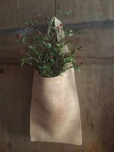 Primitive Country Early American Burlap Bag Sack With Handle ~ Medium #NaivePrimitive