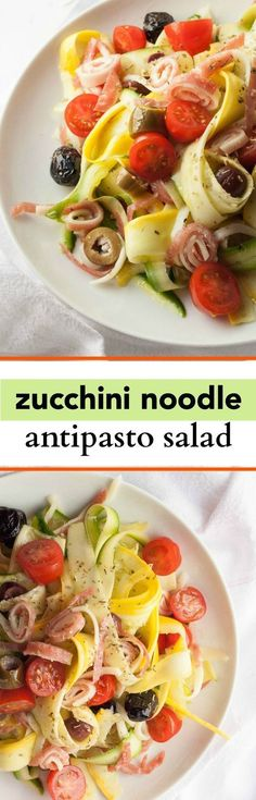 15 Minute Zucchini Noodle Salad with Salami, Provolone and Olives - This spring salad recipe is low-carb and tastes just like an Italian antipasto plate!