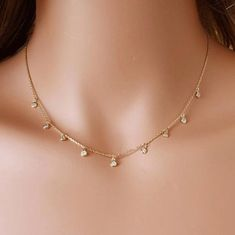 Baguette Diamond Pendant in Solid Gold / Dainty Diamond Necklace / Round Disc Pendant Baguette / Gold Necklace / Birthday Gift for Her - Fine Jewelry Ideas Colar Fashion, Fashion Necklace, Fashion Jewelry, Women Jewelry, Diamond Pendant, Diamond Jewelry, Diamond Earrings, Diamond Necklaces, Diamond Studs