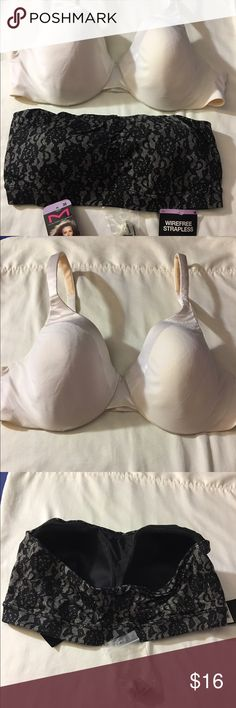 2 BRAS wire-free strapless 38 and white bras 38D BRAS wire-free strapless size 38, Stretch good enough. They are comfortable and do not split the body parts. Is completely new tag is on, they are perfect for dress 👗 or top, You also get a FREE pair of clear straps. FOR THE WHITE BRAS is size 38D I only used it twice. It helps you to support ur  pain back and help with breast lift, You can also adjust it to your liking. you can get both items for one price. Smoke free home. MAIDENFORM…