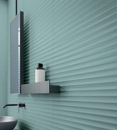 Bold | Céragrès Wall Tiles, 3d Tiles Bathroom, Bathrooms, Bauhaus Design, Sage Color, Toilet Design, Interior Design Magazine, Style Tile, Style Vintage
