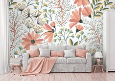 Removable Wallpaper Colorful Floral Wallpaper Peel and image 0 Classic Wallpaper, Red Wallpaper, Flower Wallpaper, Graffiti Wallpaper, Nature Wallpaper, Cheap Wallpaper, Chinoiserie Wallpaper, Wallpaper Designs, Nursery Wallpaper