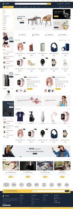 Tresmart The MultiStore is Responsive theme and designed for selling fashion Apparel,Wear,Accessories,Clothing store. Theme is responsive and supports all devices,user-friendly and fine-looking Website Design Inspiration, Website Design Layout, Ecommerce Template, Ecommerce Website Design, Photoshop, Branding Your Business, Startup, Website Themes, Tool Design