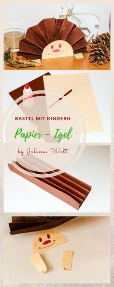 Ein Igel aus Papier, ideal für Herbstbasteln mit Kindern für die Herbst Deko. Bastelidee Kindergartenkind tauglich