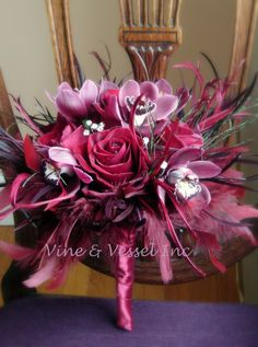Merlot feathers and flowers make a very rich bouquet!