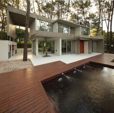 Outdoor Pool, Terrace, Modern Concrete House in Cariló, Argentina