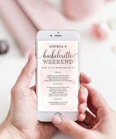 Easily text the weekends agenda to everyone with this lovely editable bachelorette weekend itinerary! Bachelorette Itinerary, Beach Bachelorette, Printable Wedding Programs, Unique Wedding Programs, Photo Frame Prop, Wedding Photo Props, Wedding Planning, Party Planning, How To Plan