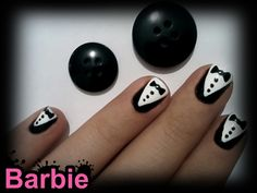 Tuxedo Nails - Vintage black and white tuxedo nail design With cute Bow tie, buttons and everything.